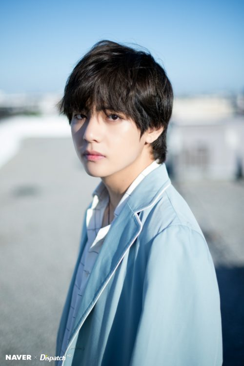 Taehyung wearing a blue coat Dispatch Pitcures 2018