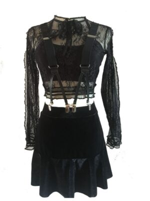 Top-With-Lace-And-Skirt-Set-From-Jennie-Stage-Fashion