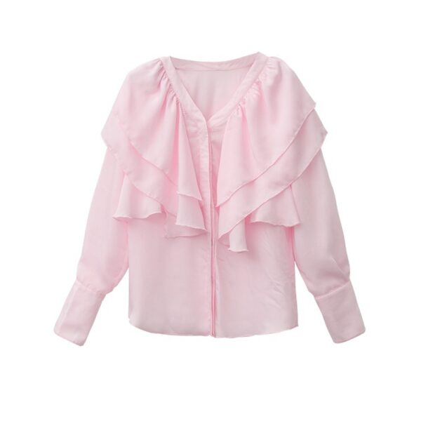 Pink Blouse with Fluffy Collar | Kim Mi So