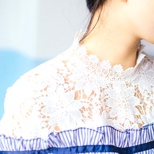 Blue Striped Blouse with Lace   Irene – Red Velvet