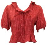 Dotted Red Cropped Blouse | Wendy – Red Velvet