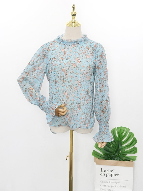 Blue Floral Pleated Collar Blouse   Hyuna