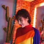 Colorful Striped Knitted Sweater   Hyuna