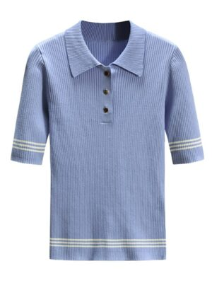 Irene Blue Polo Collared Short Sleeved Striped Shirt (3)