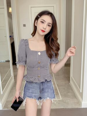 Lisa Plaid Trumpet Sleeves Buttons Blouse (7)