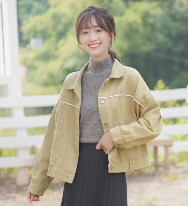 Beige Jacket With White Stripe And Two Pockets