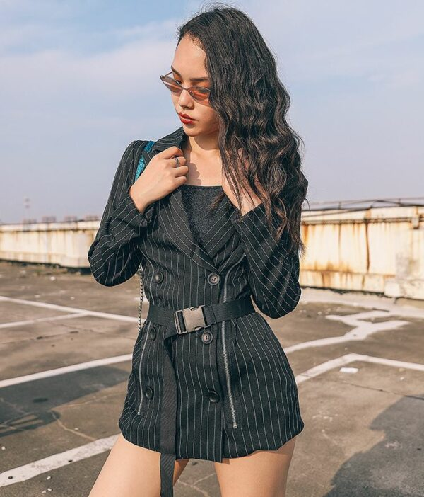 Striped Zipper Coat With Belt And Buckle