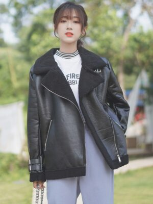 Black Leather Jacket With Wool Inner Lining