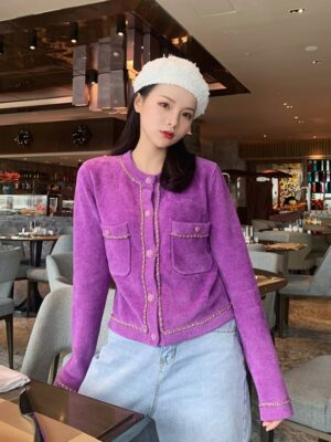 Jennie Lilac Chain Outlined Cardigan (8)