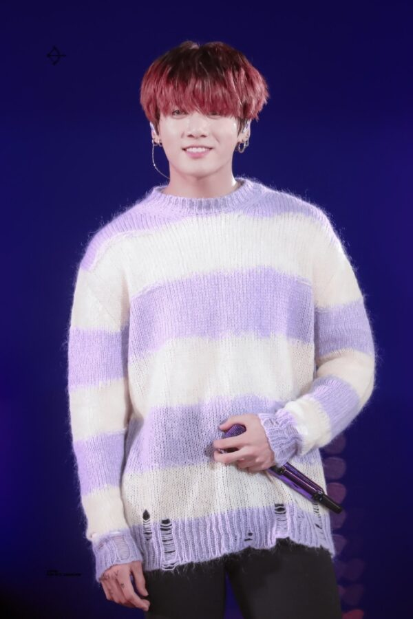 Lilac White Striped Sweater With Holes | Jungkook – BTS