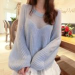 Oversized Partly See-through Sweater   Momo – Twice