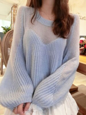 Momo Oversized Partly See-through Sweater (1)