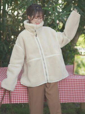 Stand Collar Student Wool Coat (6)