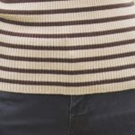 Striped Turtleneck with Buttons on Sleeves