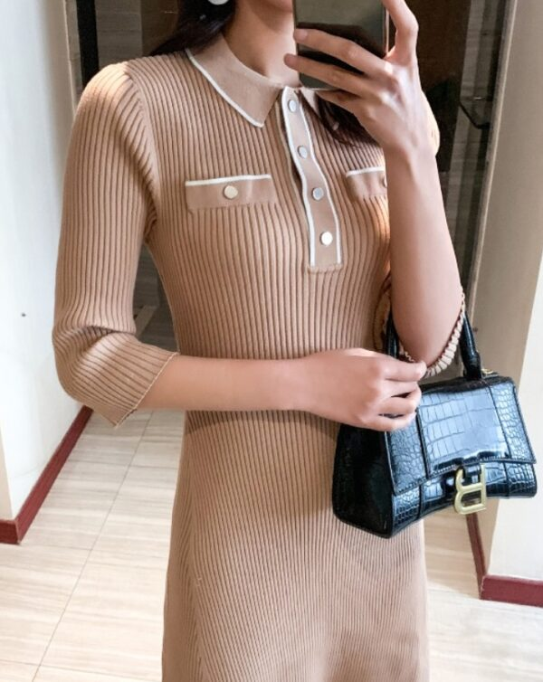 Beige Ribbed Polo Collared Dress | Nayeon – Twice
