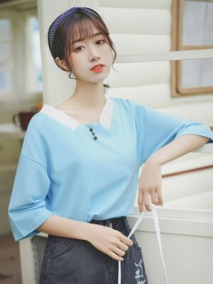 Chic Long Sleeved T-Shirt With Button-Collar (8)