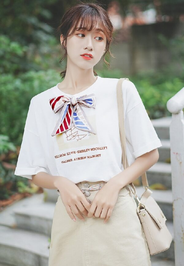 Girly White T-Shirt With Ribbon