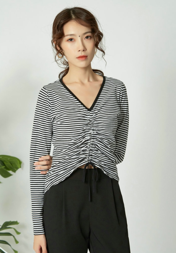 Black And White Stripes Drawstring Top  Miyeon – (G)I-DLE