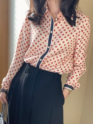 Nayeon Red Clover Patterned Silk Blouse 00023