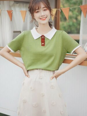 Short Sleeved Polo With White Collar (3)
