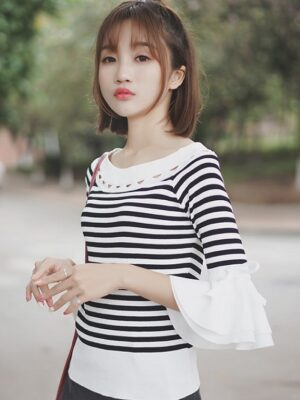 Striped Bell Sleeved Blouse (2)