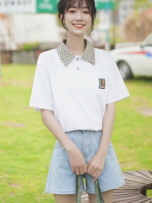 Striped Collared T-Shirt With Pocket