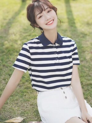 Striped Polo Shirt With Buttons (6)