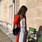 Red Long Cardigan With Black Tape Edging   Jennie – Blackpink