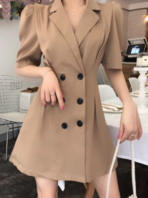 Solar Beige Double Breasted Suit Dress 00004