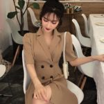Beige Double Breasted Suit Dress   Solar – Mamamoo