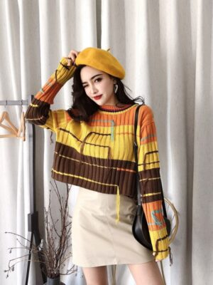 Taeyeon Multicolor Block Sweater With Tassels (12)