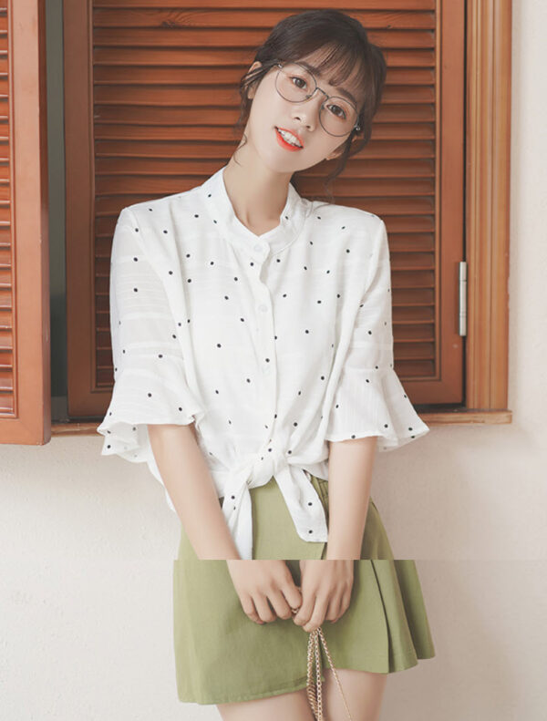 Bell Sleeved Polka Dots Blouse