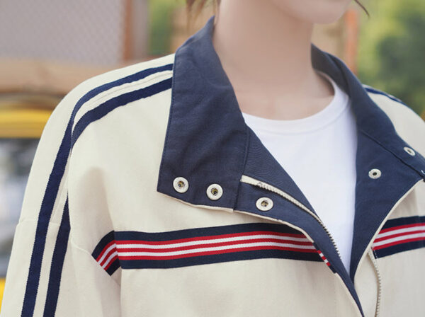 Blue And Red Striped Creamy White Loose Jacket