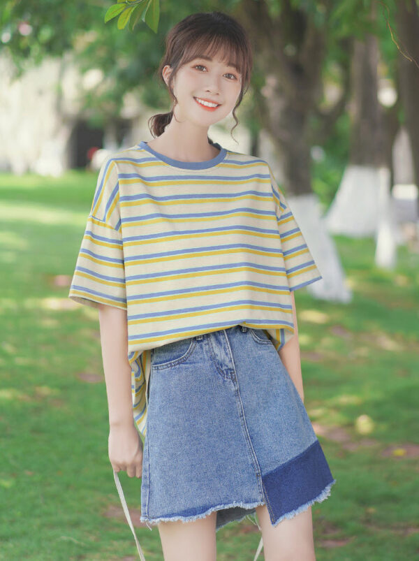 Blue And Yellow Striped T-Shirt