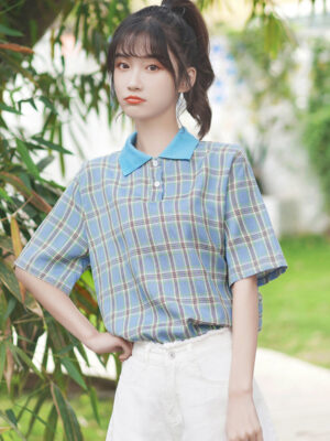 Checkered Blue Collared Blouse (5)