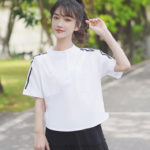 Double Striped Shoulders Sleeves Blouse