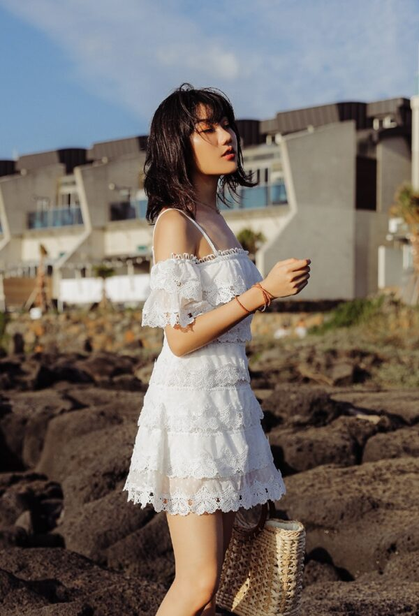 White Off Shoulder With Petal Sleeve Dress | Momo – Twice
