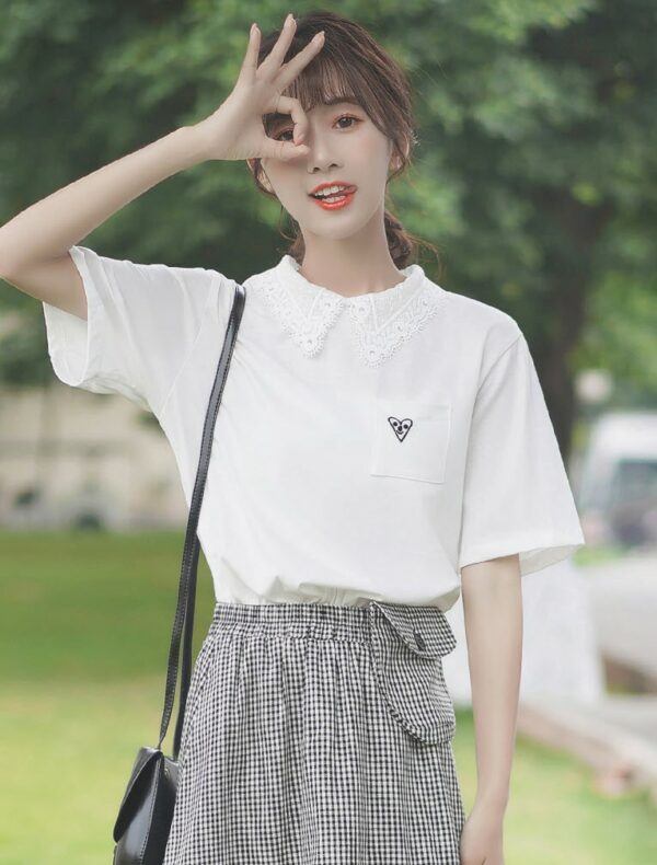 Polo Lace Collared White T-Shirt