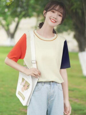 Red And Blue Sleeves Round Neck T-Shirt (9)