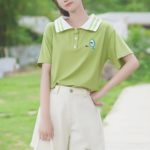 Striped Polo Collared Green T-Shirt