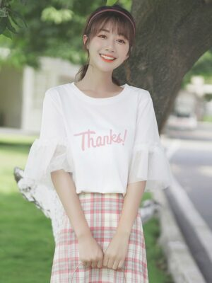 Thanks White Lace Bell Sleeve T-Shirt (2)