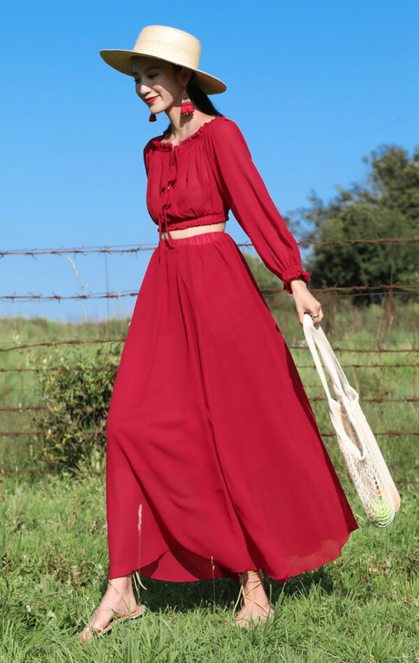 Red Off Shoulder Two-Piece Dress   Solar  – Mamamoo