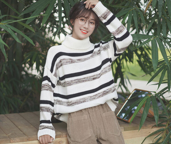 Bar Striped Black And White Turtleneck Sweater