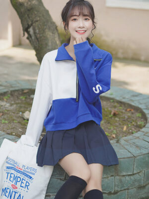 Blue And White Half Zip-Up Sweater (6)