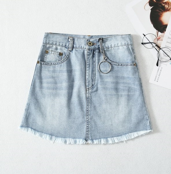 Distressed Denim Skirt   Chaeyoung- Twice