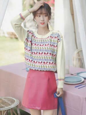 Cute Fruits Embroidered Sweater (3)