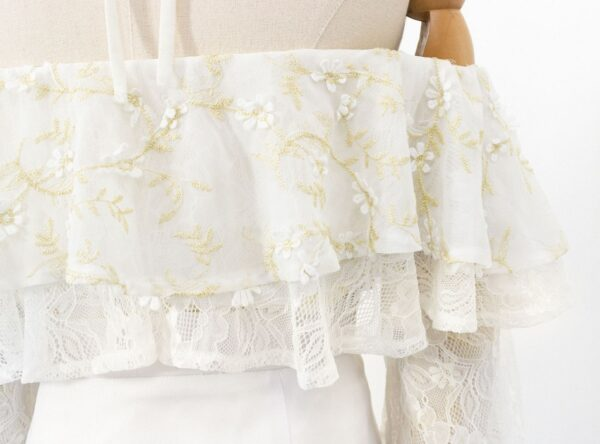 White Off-Shoulder Lace Top | IU