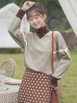 Light Brown Two-Piece Turtleneck Sweater
