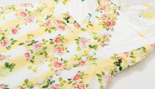 Yellow And White Floral Ruffled Dress | Rose – BlackPink