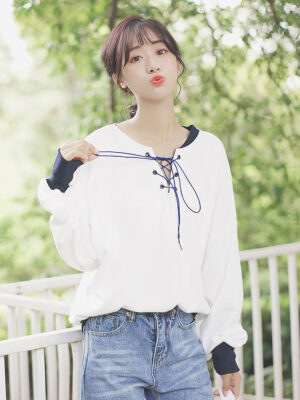 White String Lace Tied Sweater (3)